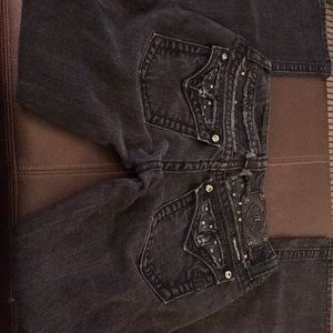EUC Miss Me Black Boot cut 26 x 31 low rise Sz 2